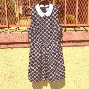 Blue and grey polka dot collared CECE dress
